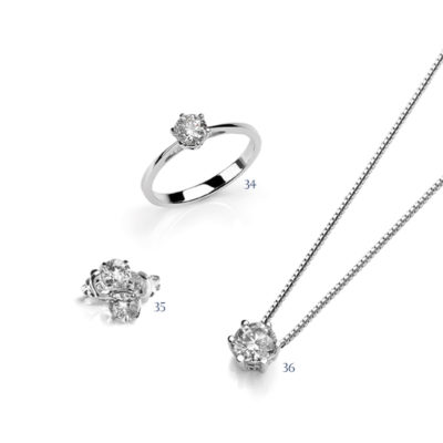 Orecchini, anello e pendente con diamanti - collezione Unica