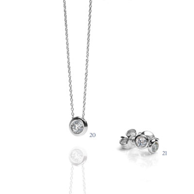 Orecchini e pendente con diamante - collezione Armonia