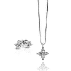 Orecchini e collana con diamante collezione Stella